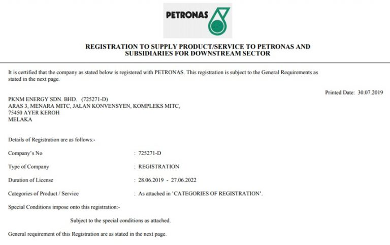 PETRONAS APPROVED REGISTRATION